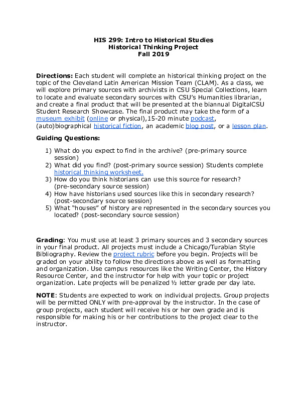 HIS 299 Historical Thinking Project Instructions